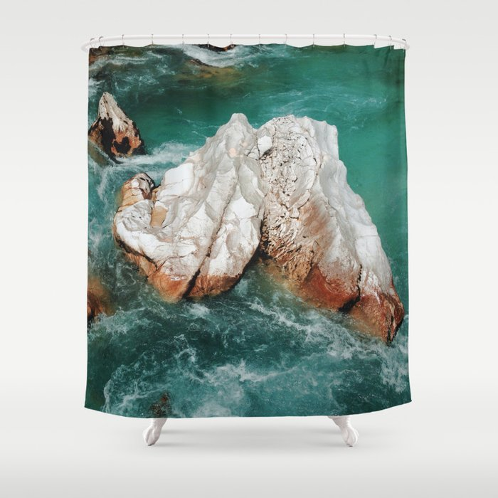 sharp bathroom window coverings | Sharp rock in river Shower Curtain by borc | Society6