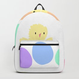 Pastel rainbow Easter eggs and chicken Backpack
