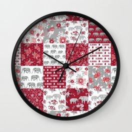 Alabama bama crimson tide quilt pattern florals football varsity alumni Wall Clock