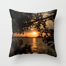 Framed sunset by trees Throw Pillow
