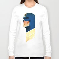 europe Long Sleeve T-shirts featuring Captain Europe by Robert Farkas