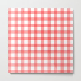 Red gingham fabric cloth, seamless pattern Metal Print