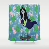 marceline Shower Curtains featuring Marceline, The Pothead Queen by earthy scorpio