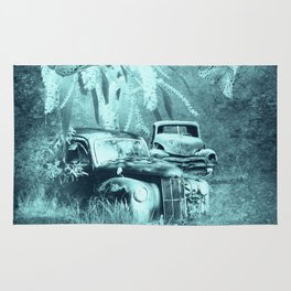 cars and butterflies in moonlight Rug