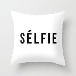 Selfie - version 1 - black Throw Pillow