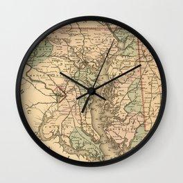 Vintage Maryland Railroad Map (1876) Wall Clock