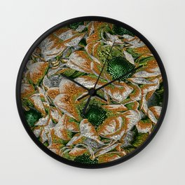 MetalArt Flowers green Wall Clock