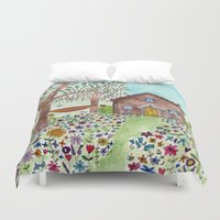 cabin Duvet Covers featuring Spring Cabin by Flora Fricker