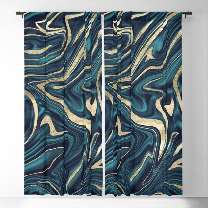 Teal Navy Blue Gold Marble #1 #decor #art #society6 Blackout Curtain by  anitabellajantz