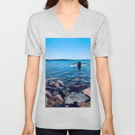 Dog Swimming Unisex V-Neck