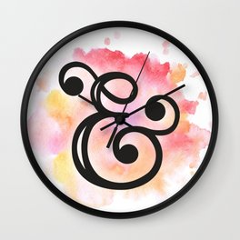& | Ampersand and watercolor Wall Clock