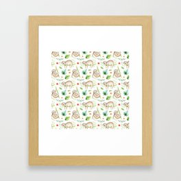 Modern hand painted green brown watercolor tropical floral sloth Framed Art Print