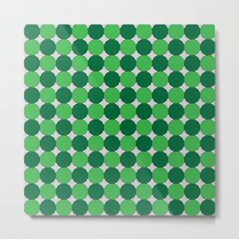 Green Dodecagons on Silver Metal Print
