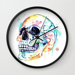 Skull Rainbow Watercolor Painting By Lisa Whitehouse Wall Clock