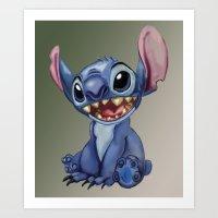 stitch Art Prints featuring Stitch by Joshua Norman