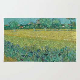 "Vincent Van Gogh ""View of Arles with Irises in the Foreground"" Rug"