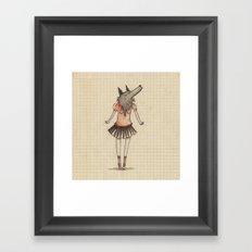 Woman Wolf at school Framed Art Print