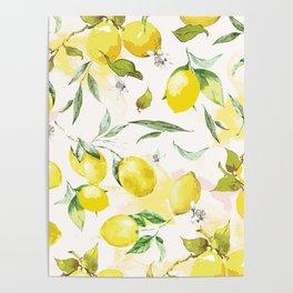 Watercolor lemons Poster