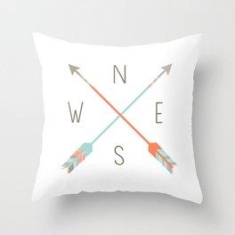 Arrow Compass Throw Pillow