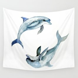 Dolphin, Two Dolphins, chidlren room decor illustration dolphin art Wall Tapestry