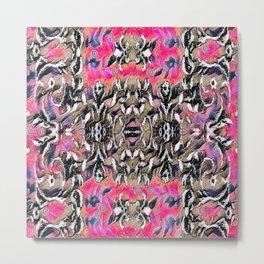 Silver Brocade on Pink Metal Print