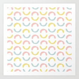 Pastel pink coral blue yellow abstract geometrical circles Art Print