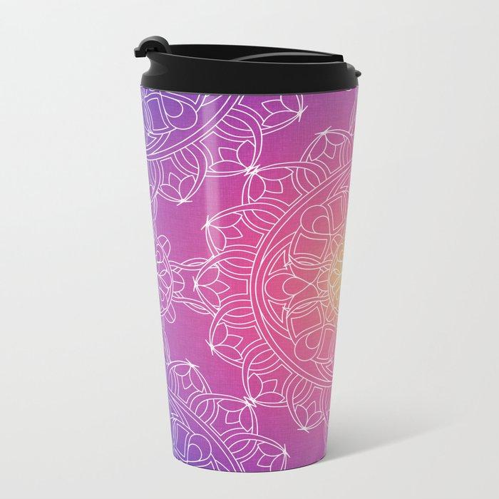 White Lace Mandala in Purple, Pink, and Yellow Metal Travel Mug