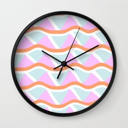 Abstract Geometric Shapes in Beachy Colors Wall Clock