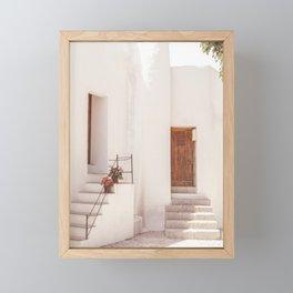 Mediterranean White Village House Street Summer Travel Framed Mini Art Print