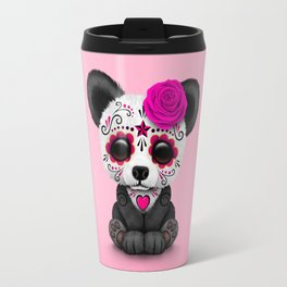 Pink Day of the Dead Sugar Skull Panda Travel Mug