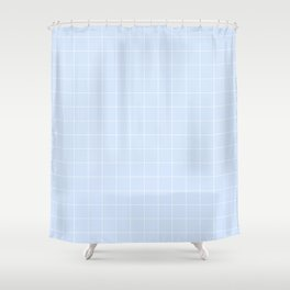 Powder Blue and White Grid Pattern Shower Curtain