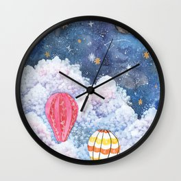 Rise Above | Night Sky Hot Air Balloon Illustration | Watercolor | Galaxy Wall Clock
