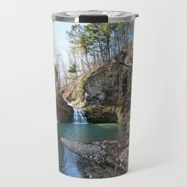 Alone in Secret Hollow with the Caves, Cascades, and Critters - Approaching the Falls Travel Mug