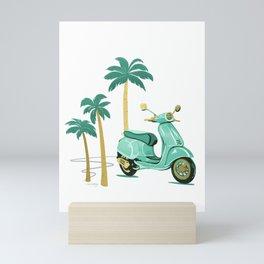Vespa and Palm Trees - Mint and Gold by Linda Sholberg Mini Art Print