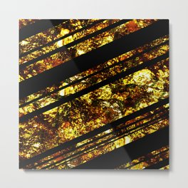 Gold Bars - Abstract, black and gold metallic, textured diagonal stripes pattern Metal Print