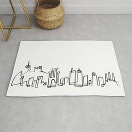 Barcelona Skyline in one draw Rug