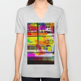 yellow classic taxi car with colorful painting abstract in pink orange green Unisex V-Neck