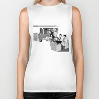 the office Biker Tanks featuring OFFICE MEETING by Sofia Youshi