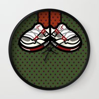 air jordan Wall Clocks featuring AIR JORDAN 4 by originalitypieces