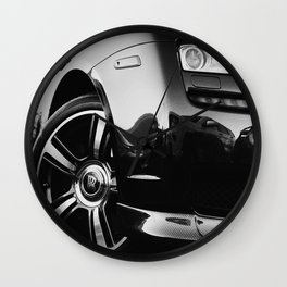 Rolls Rims // Black and White Luxury Super Car Photography Real Life Street Shots Wall Clock