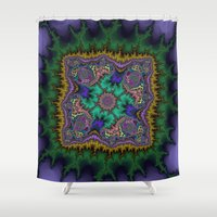 rug Shower Curtains featuring Fractal Rug by Warwick Wonder Works
