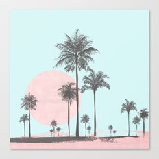 Beachfront palm tree pastel sunset graphic Canvas Print