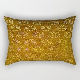 Antique Gold Lotus Flower Pattern Rectangular Pillow
