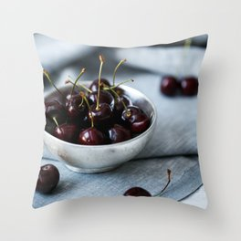 Bowl of Sweet Cherries Throw Pillow