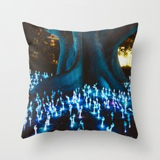Fantasy forest with magic mushrooms Throw Pillow