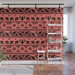 ethnic pattern on living coral background Wall Mural