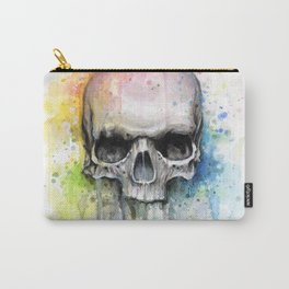 Skull Rainbow Watercolor Carry-All Pouch