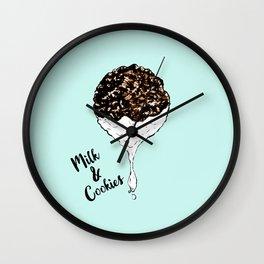 Cute Hand Drawn Foodie Cookies and Milk Wall Clock