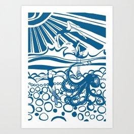 Mermaids in the deep blue Art Print