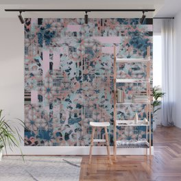Pink and Blue Modern Geometric and Animal Print Pattern Wall Mural